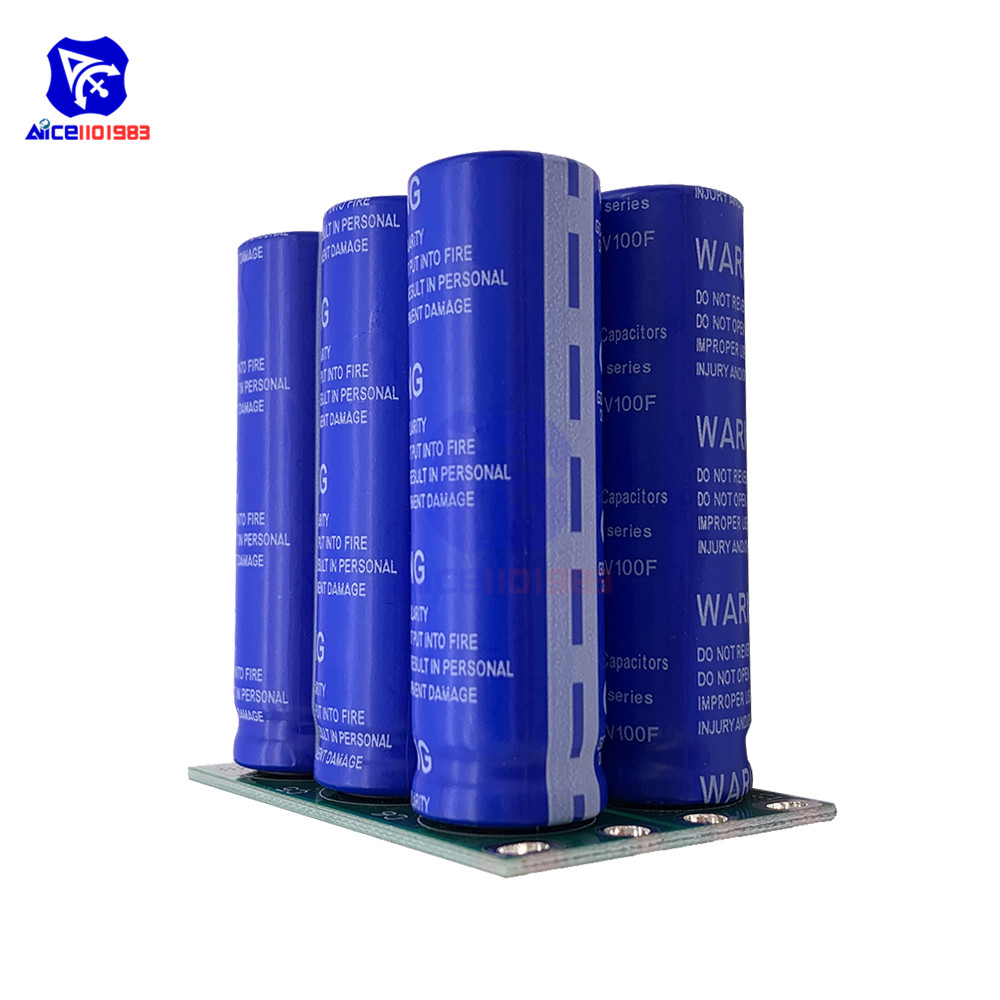 Super Farad Capacitors 6PCS 2.7V 100F Super Capacitor With Protection Board Double Rows 16V 16.6F High Frequency Low ESR For Car