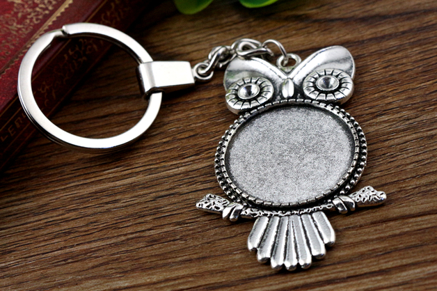 2pcs 25mm Inner Size Antique Silver plated Cameo Setting Base;Handmade Cameo Setting, Metal Key Chains Accessor (SG-A4-30)