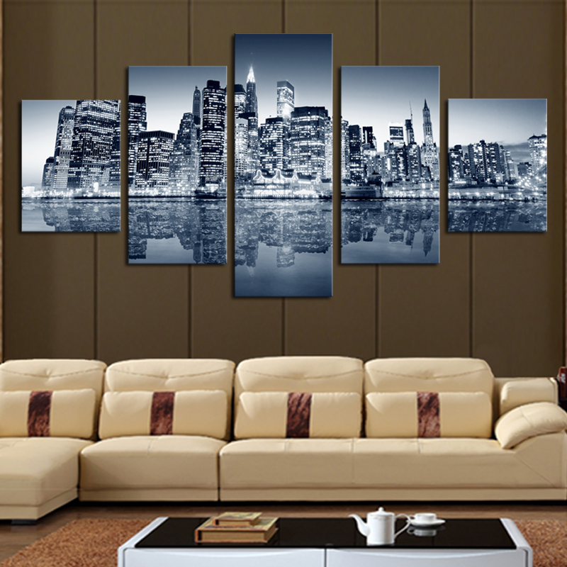 City Construction Beautiful 5 Computers No Box Large High Definition Canvas Printing Painting The Living Room Wall Art Pictur In Calligraphy