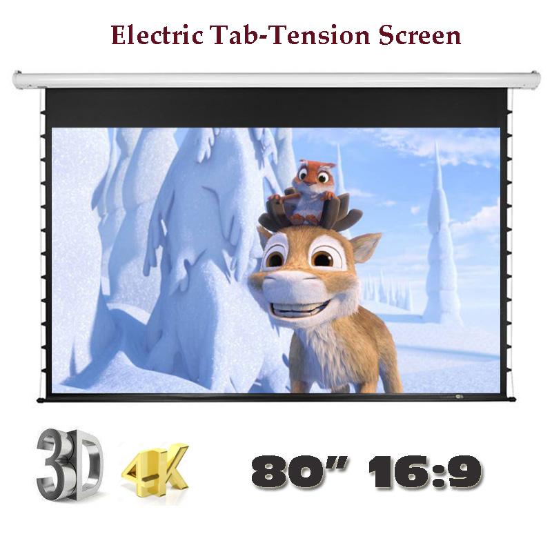 Luxury 4K 3D Electric Tab-Tension Screen 80 inch 16:9 for Home Theater High Quality Cinema Motorized Projector Screens girls dresses summer baby girls clothes kids dresses lemon print princess dress girl party cotton children dress 6