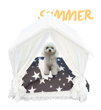 Summer Pet House Lace Dog Bed Beautiful Dog House Star Pattern Puppy House Breathable Cool Removable Washable Portable summer house