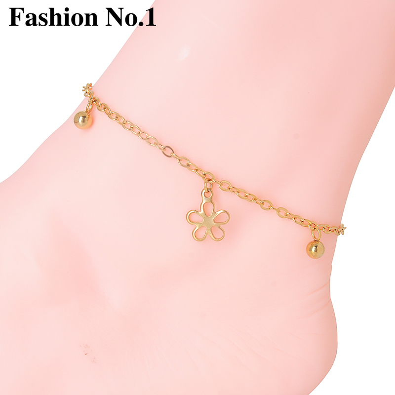 Hot Sale Gold Plated Acrylic Chain Beach Foot Ankle Jewelry Vintage Beauty Flower Anklets For Women
