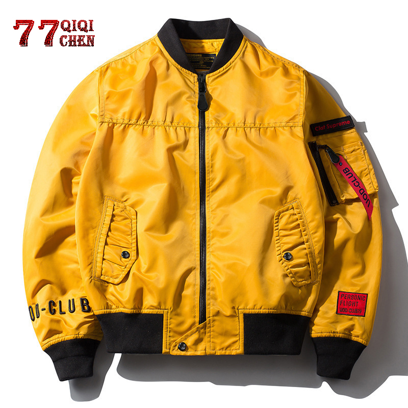 Jacket Streetwear Jaqueta Baseball-Pocket Pilot Hip-Hop Men's O-Neck Masculina Loose