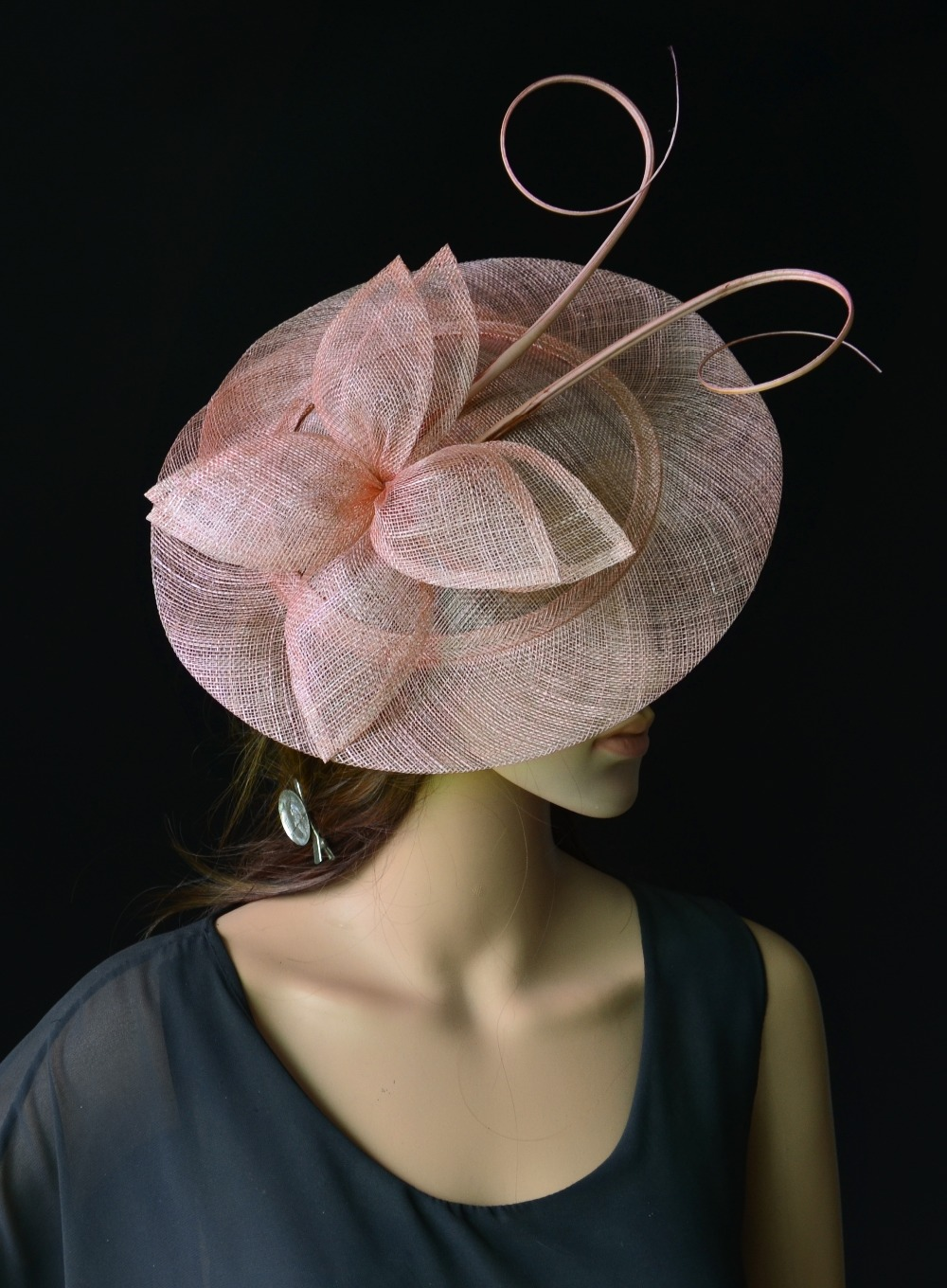 Wholesale NEW Blush pink big Elegant Sinamay fascinator hat with long ostrich  spine kentucky derby  5ebdc331c852