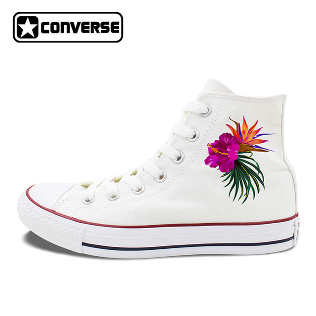 womens Skateboarding Shoes Canvas floral watercolor leaves Sport Sneaker