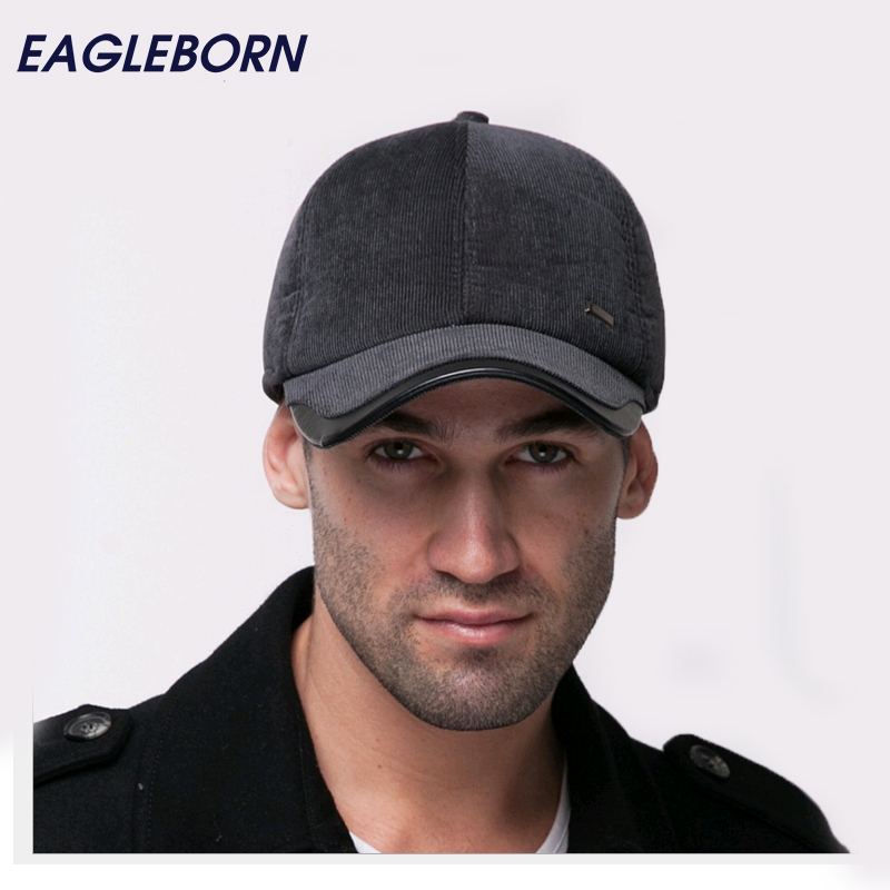 fleece lined baseball cap mens new autumn winter men warm corduroy male font hat woolrich