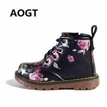 2dda78447b5 AOGT 2018 Brand Children Girls Boots Leather Black Martin Boots Elegant  Irregular Flowers Casual Kids Shoes