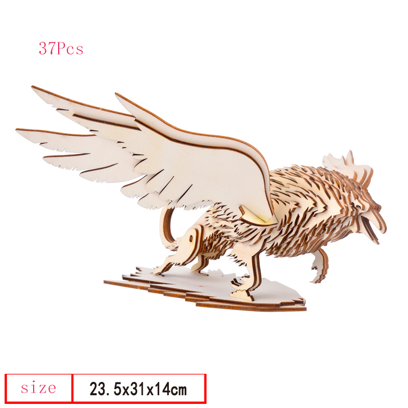 Constructive Ddwe Assembly Creative Diy 3d Unicorn/owl/eagle Wooden Puzzle Model Games Assembly Nature Color Toy Gift For Children Kids Gift Puzzles Puzzles & Games