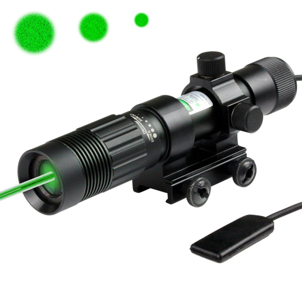 Hunting Green Laser Adjustable Flashlight Illuminator Designator Picatinny Mount Hunter Night Vision