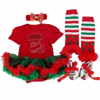 New Year 4pcs baby holiday outfit first christmas costume birthday baby girls gifts Rhinestone Socks newborn bodysuit tutu dress