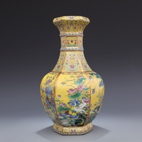 Yong Zheng in the Qing Dynasty enamel yellow flower and bird vase hexagonal antique porcelain