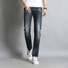 Men Jeans Casual Denim Pants Classic Whiskering Straight Jeans Masculina Male Denim Trousers Cotton