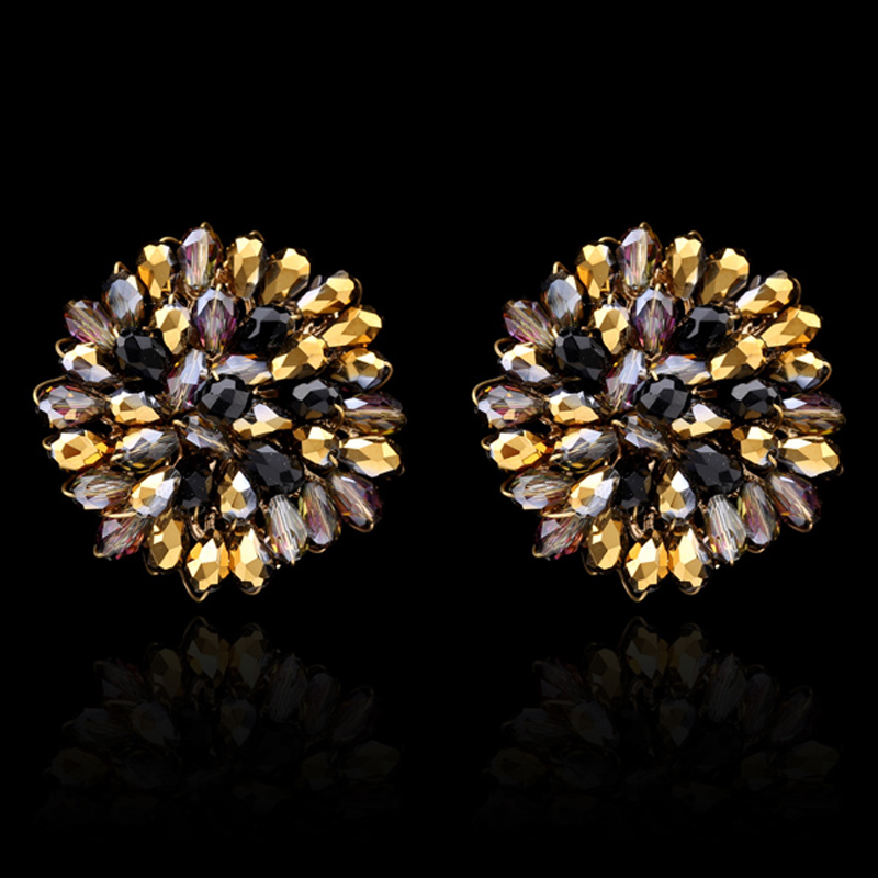 Luxury Unique Gold Plate Crystal Flower Handmade Stud Earrings Women Fashion Jewelry Wedding Party Daily Bijoux Earring - KAYMEN JEWELRY CO,.LED. store
