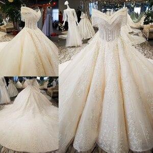 Image 2 - AIJINGYU Hochzeit Kleider 2021 Kleider Pailletten Kaufen Braut Boutique Neueste Mit Langen Schwanz Einzigartige Kleid Finnland Hochzeit Kleid Stoff