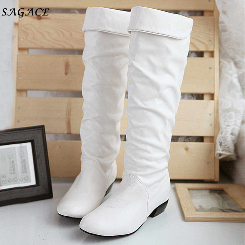 CAGACE shoes women Winter Knee High Boots High Tube Flat Heels Riding Boots High Quality Warm Rubber Boots Lady botas  mujer