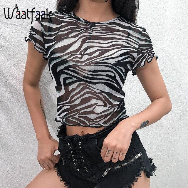 Waatfaak Animal Print Zebra Sexy Summer T-shirt Transparent Mesh Crop Top Women Streetwear Tshirt Black Short Sleeve Casual Tee