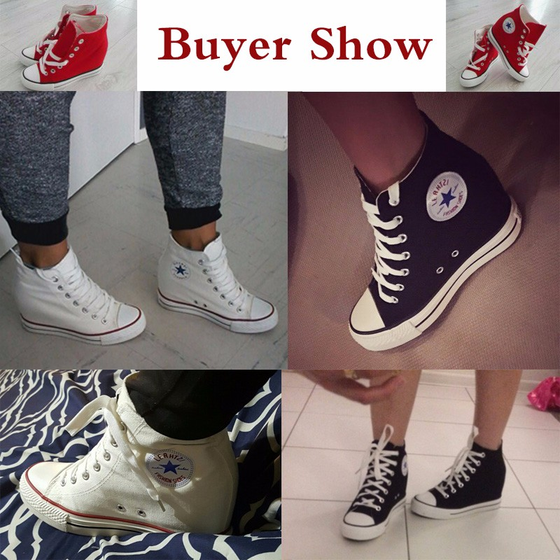 KUYUPP Superstar High Top Canvas Women Shoes Espadrilles Spring Autumn Women\'s Wedges Shoes Lace Up Casual Shoes Sapatilha YD120 (2)