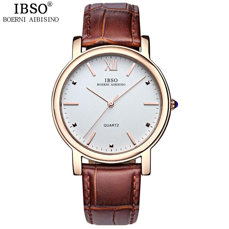 IBSO clásico de 2019 de moda relojes para hombre marca de lujo de cuero  genuino correa de reloj de cuarzo de los hombres 3ATM impermeable reloj  Masculino 0db9e5c7c5d4