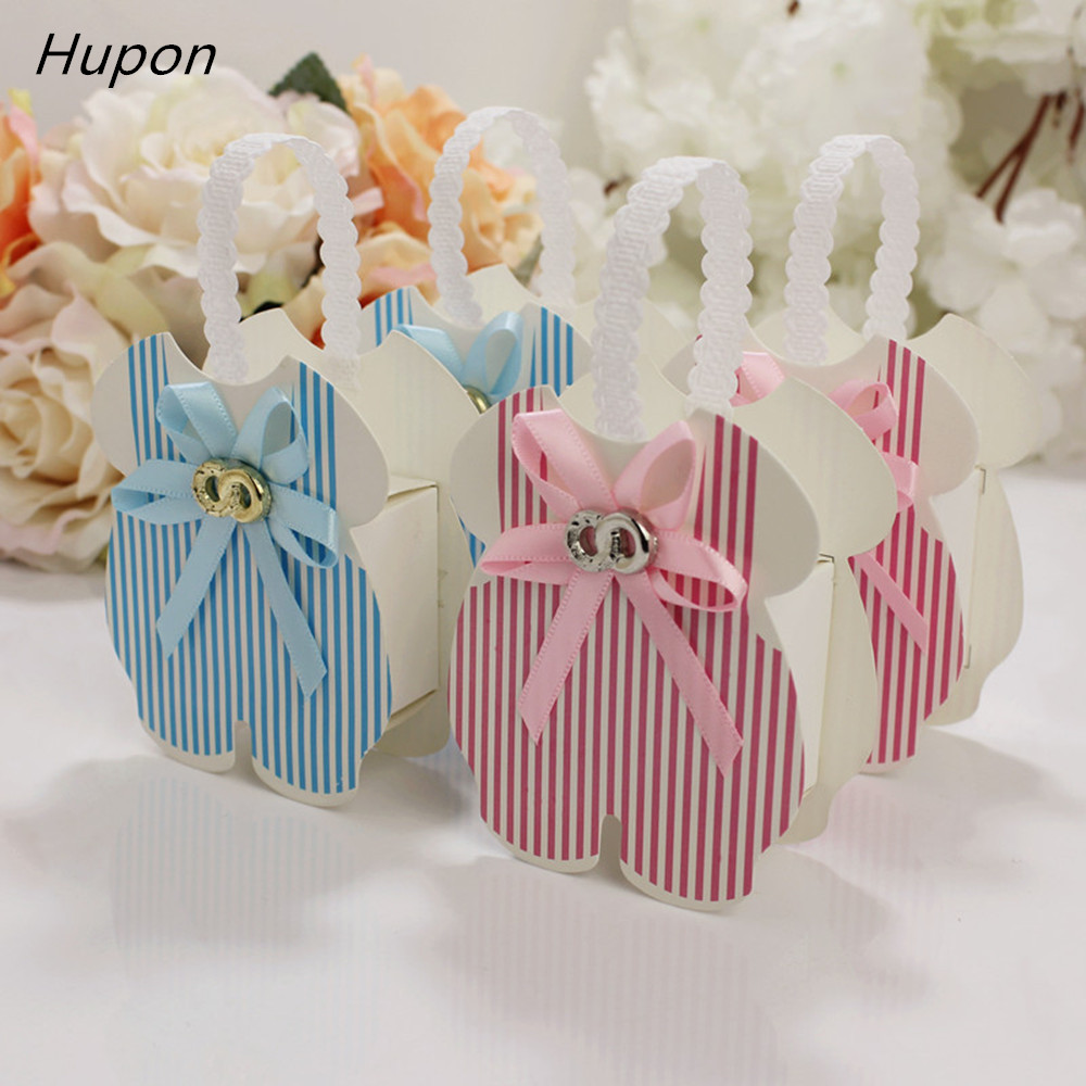 12pcs Pink/Blue Gift Candy Box Baby Shower Favor Boxes Portable Chocolate Bags Birthday Guests Favors Box Kids New Year Gifts