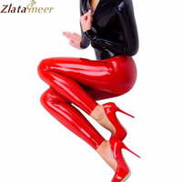 Slim Rubber Red Pants Latex Leggings For Women Sexy Hot Leggins LTW054