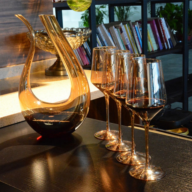 high quality Plating gold color wine cup lead free crystal red wine glass wine glassware large capacity wine glass and Decanter