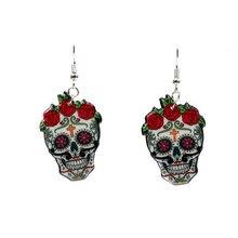 Horrible Hyperbole Skull Bloody Rose Acrylic Halloween Dangle Drop Earrings for Women Party Jewelry Supplies