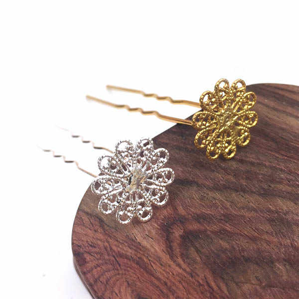 Hairpin Kanzashi Filigree Flower Base Wedding Bride Hair Bun Holder Hair Fork Hairpins Jewelry Accessories Kimono Hanfu Cosplay