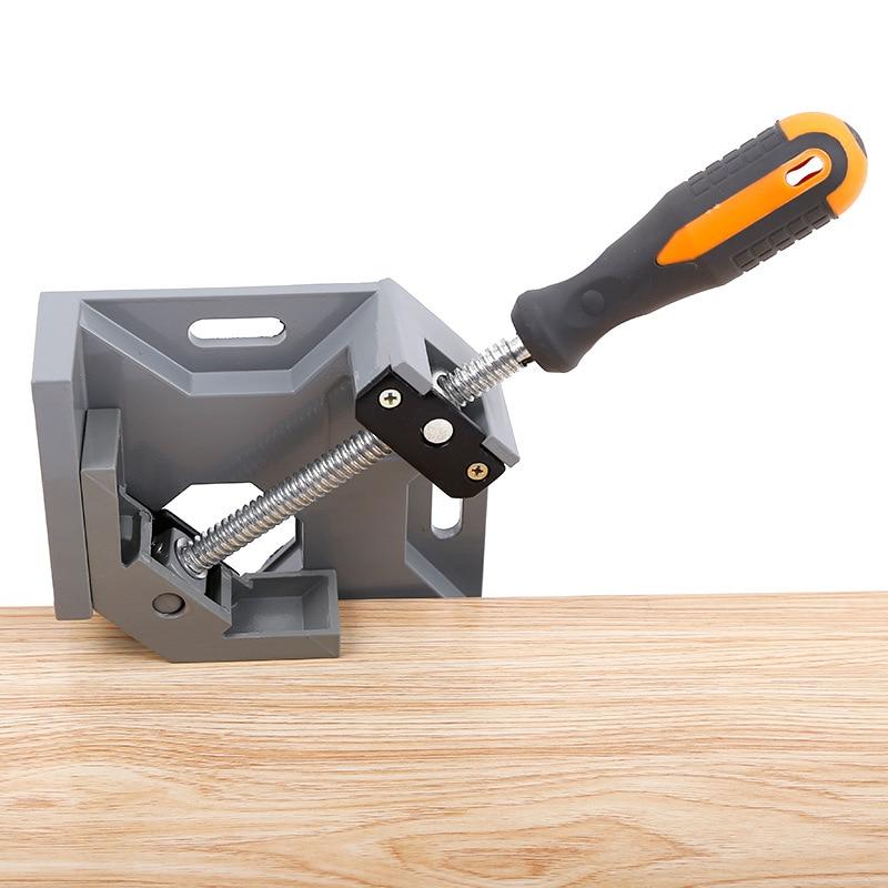 цена на New Aluminum Single Handle 90 Degree Right Angle Clamp Angle Clamp Woodworking Frame Clip Right Angle Folder Tool P25