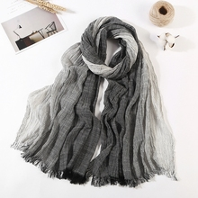 LARRIVED 2019 Wholesale Brand Winter Scarf Warm Soft Tassel Bufandas Cachecol Gray Plaid Woven Wrinkled Cotton Scarves