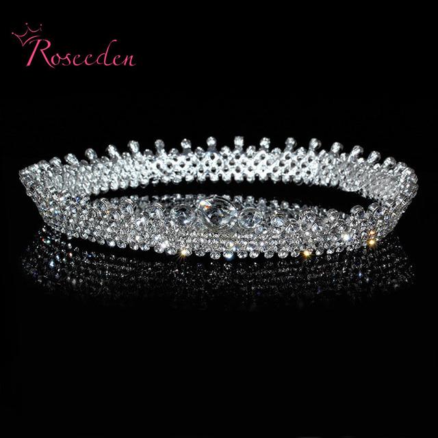 Hot elegante brillante Crystal Rhinestone Tiara de la corona de boda Prom novia de todo estéreo de lujo venda de la boda celada RE205