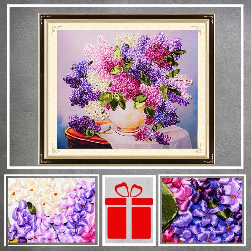 DIY Ribbons Embroidery Flowers Vase Hydrangea Decorative Paintings Needlework Crafts Cross Stitch kit living Room Decor C-0279