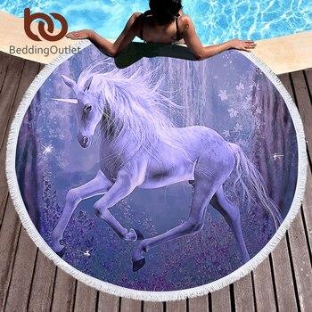 BeddingOutlet микрофибры большой круглый пляжные полотенца с Ленточки для взрослых детей Фиолетовый единорог Летний пляж кисточкой гобелен 150 см