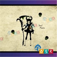 Death Dominate DM BRS Wall Sticker Anime Game Sticker Double Blade Sickle Skeleton Personality Sticker
