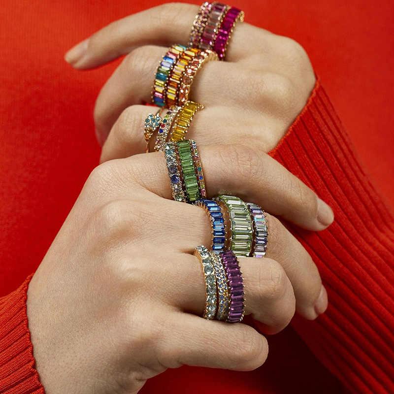 Aoteman Cầu Vòng Rainbow 47 Màu Baguette Cubic Zirconia CZ Vàng Lấp Đầy Đính Hôn Ban Nhạc Nhẫn Nữ Mặt Dây Chuyền Trang Sức Bạc 925