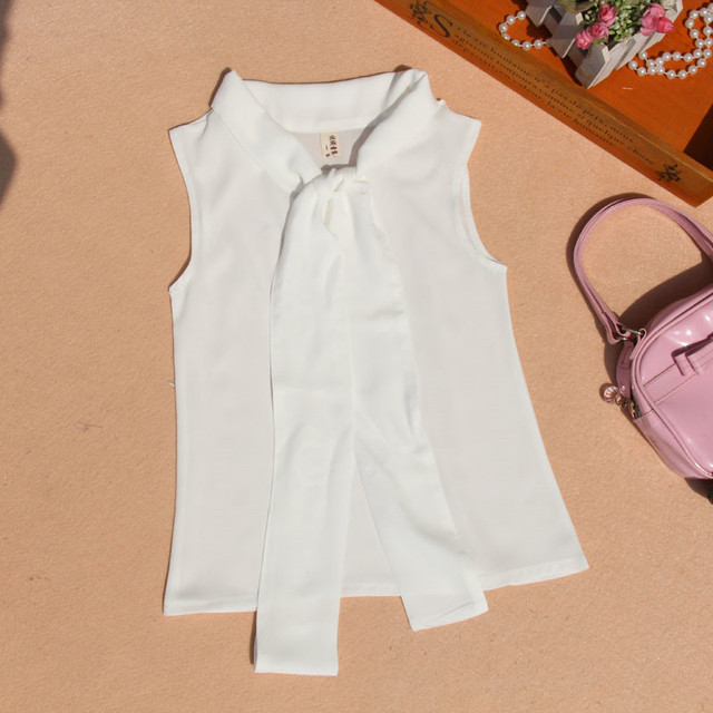 2017 Summer Baby Teenage Children Girls Blouse Blusas Chiffon Bow Sleeveless School Girl Tops And Blouses Shirts For Kids JW1506