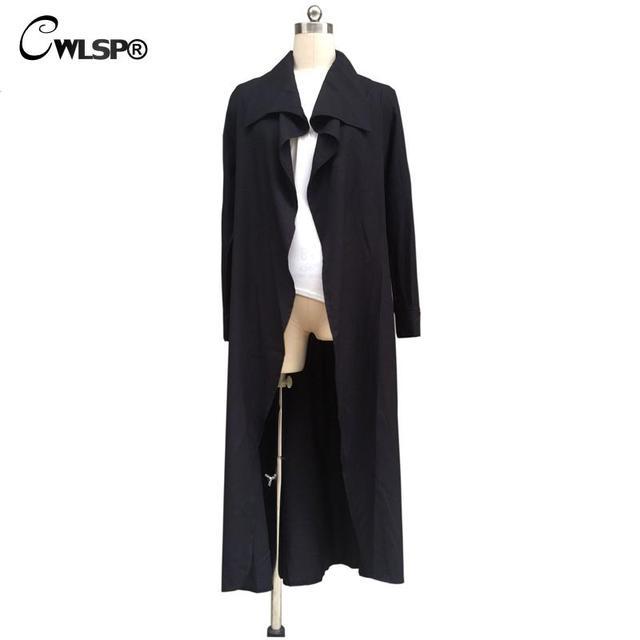 CWLSP Outwear Women Trench Coat Long 2017 Spring Autumn Lapel Black Pink Trench Cardigan Belt Loose Windbreaker abrigos mujer