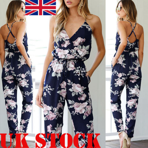 UK Women's Sexy Strap Slim Sleeveless Bodycon   Jumpsuit   Romper Trousers Clubwear