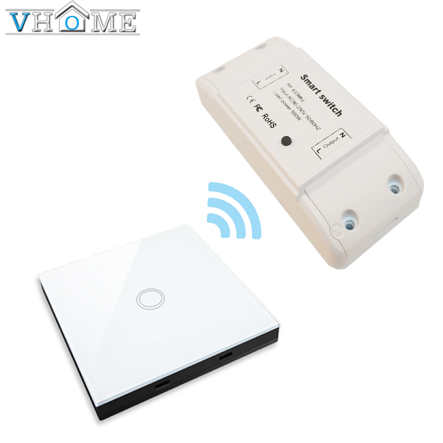 vhome wireless RF 433mhz smart universal touch remote control,Glass panel transmitter controller & relay receiver 85V-220V 5A m3 m4 5a m3 touch rf remote with m4 5a cv receiver led dimmer controller dc5v dc24v input 5a 4ch max 20a output