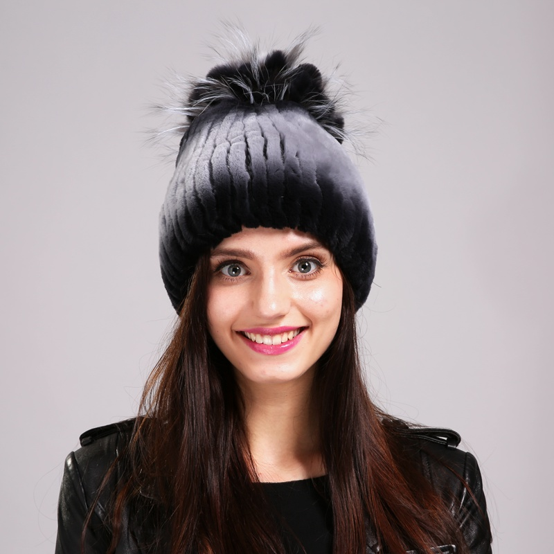 ФОТО Hat Female Retail Rex Rabbit Casual Daily Life Shopping Leisure Time Winter Decorations 100% Rex Rabbit Beanies EA4050-19