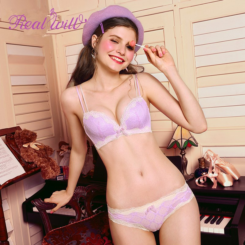Realwill Pink Girls Teenage Bra And Panties Set Lace Women -4591
