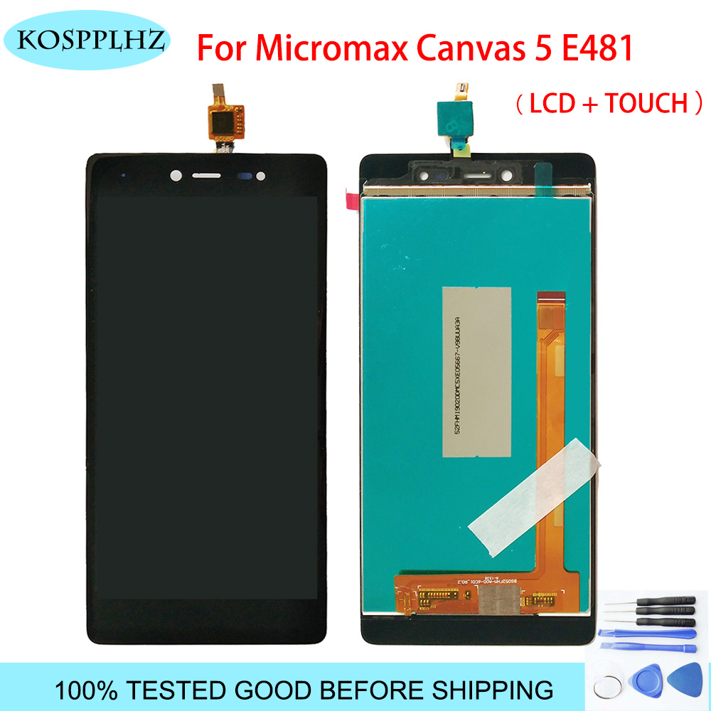 Original KOSPPLHZ Black LCD Display + Touch Screen Digitizer Assembly For Micromax Canvas 5 E481 E 481 Mobile Phone parts +TOOLS