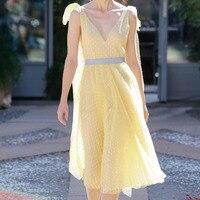 Runway Dresses 2018 Women High Quality Elegant V neck Strapless Yellow Dot Pleated Chiffon Dress Midi Calf Dress Female