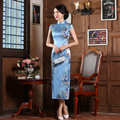 Spring Silk Cheongsam Wholesale Long Chinese Traditional Dress Printing Flower Sleeveless Qipao High Slits Evening Dress 18