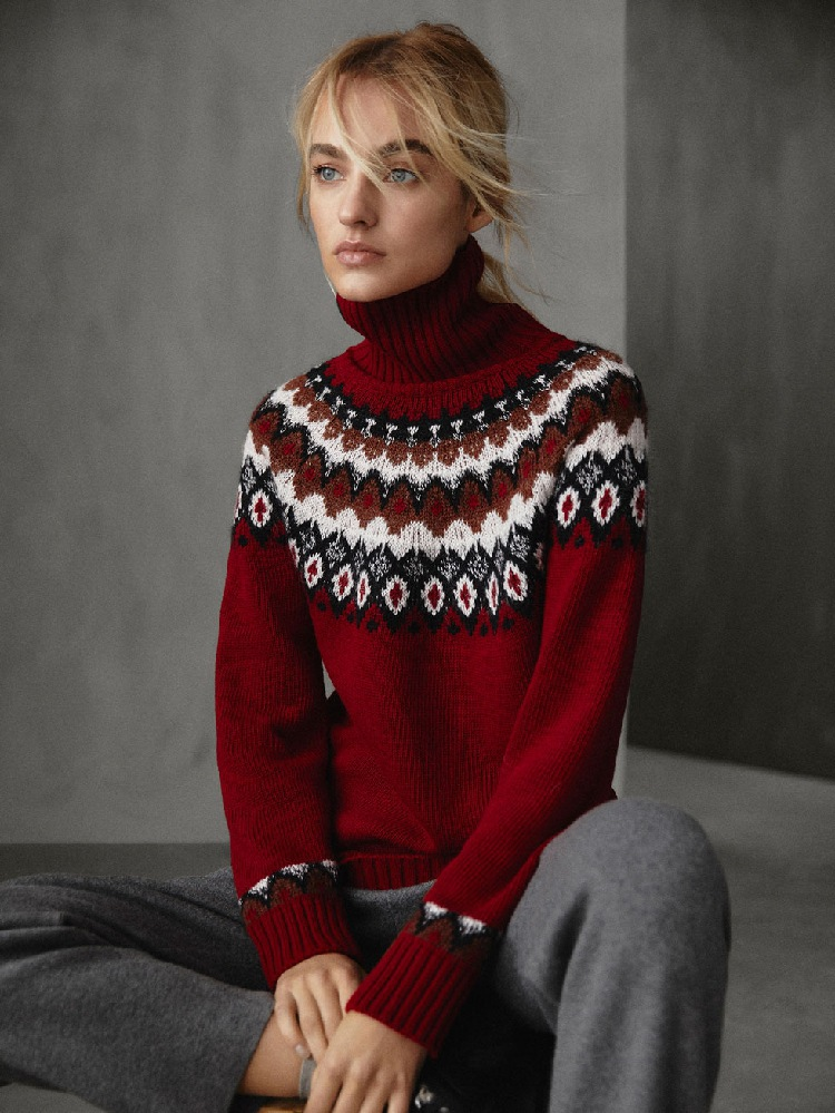 2019 Autumn and Winter New High neck Jacquard Sweater Women