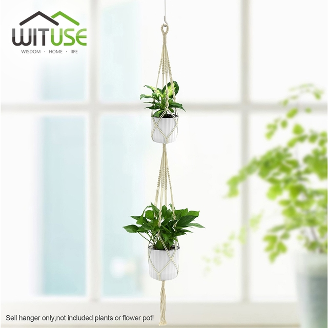 Wituse Double Layer Handmade Tel Cotton Plant Hanger Macrame Rope Hanging Basket Balcony Flower