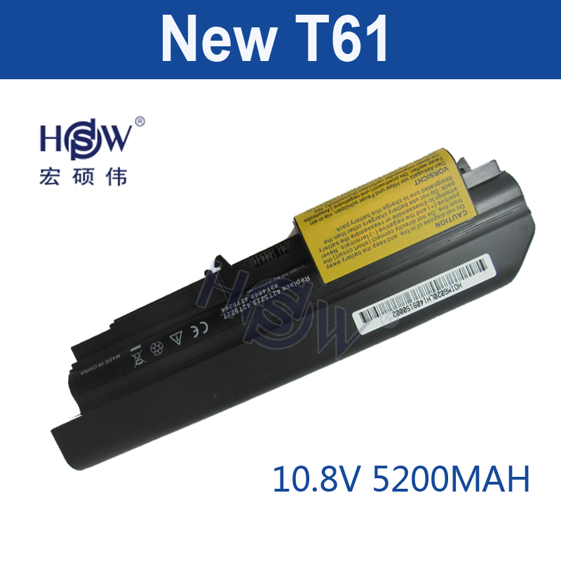 HSW 5200mAh 6cells new replacement laptop Battery For IBM Lenovo ThinkPad T61 T61p R61 R61i T61u R400 t400 6 cells bateria akku 10 8v 5 2ah genuine new laptop battery for lenovo thinkpad t400 t61 t61p r61 r61i r400 14 42t4677 42t4531 42t4644 42t5263 6cell