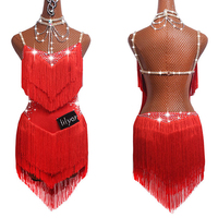 Sparkly Rhinestones Latin Dance Dresses For Women S L Red Sexy Salsa Fringe Skirt Evening Dress Ballroom Competition Clothes