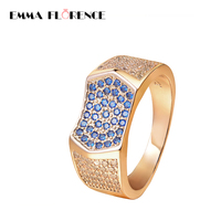 Cool Gold Color Men Wedding Rings Bling Stainless Steel Crystal Engagement Ring For Men Jewelry Bague Christmas Gift