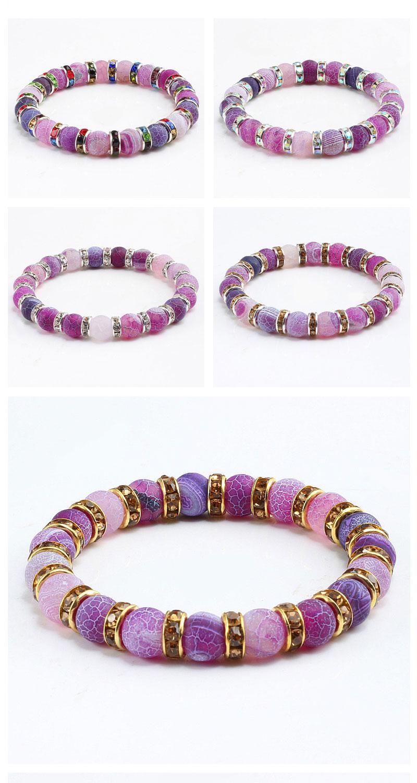 1Pcs Classic Colorful Purple Love Crystal Beaded Chakra Yoga Bracelet Female Natural Stone Beads Bracelets Women Men Jewelry Hot 3