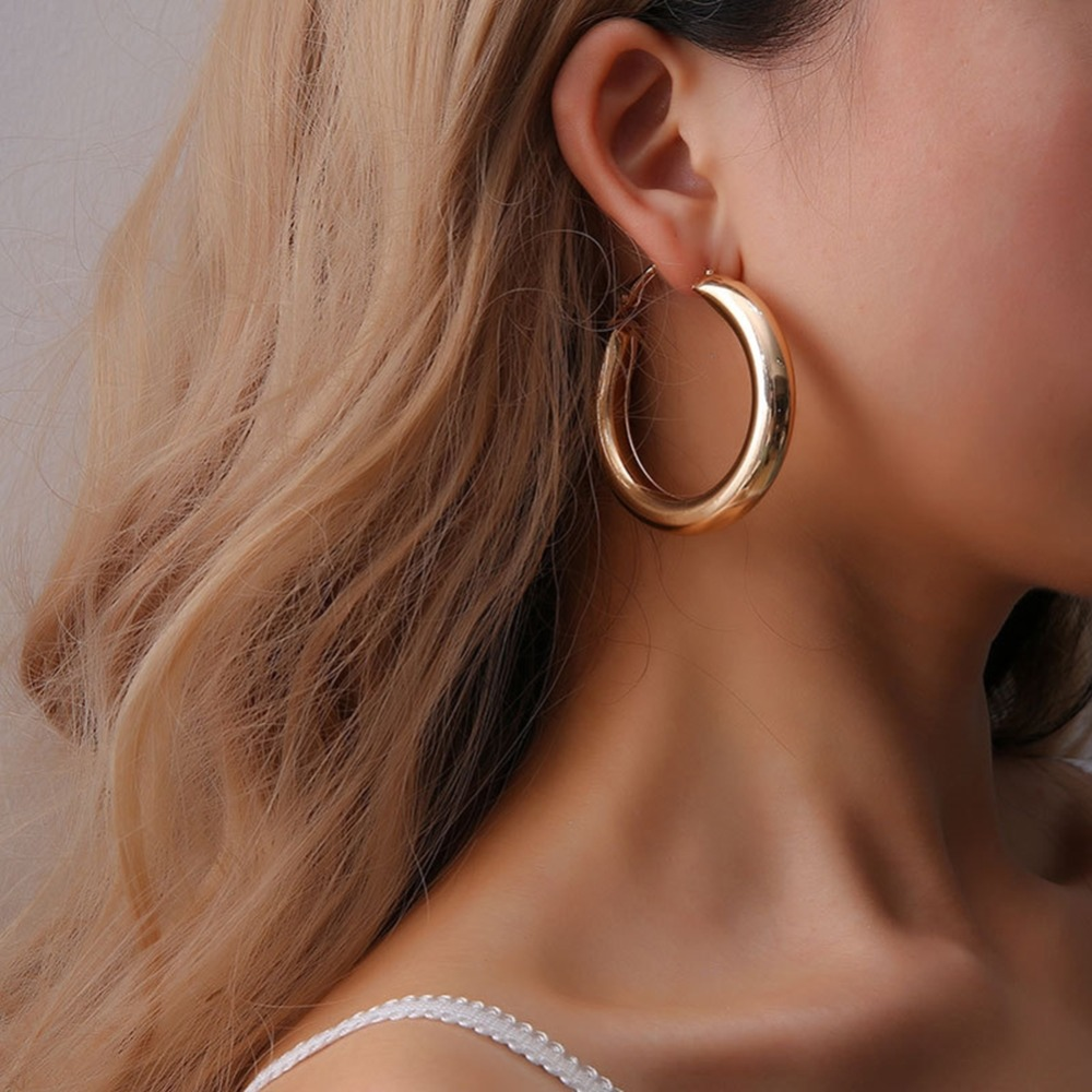 Brand OL Style Geometric Thick Tube Big Earrings For Women Circle Hoop Gold Silver Color